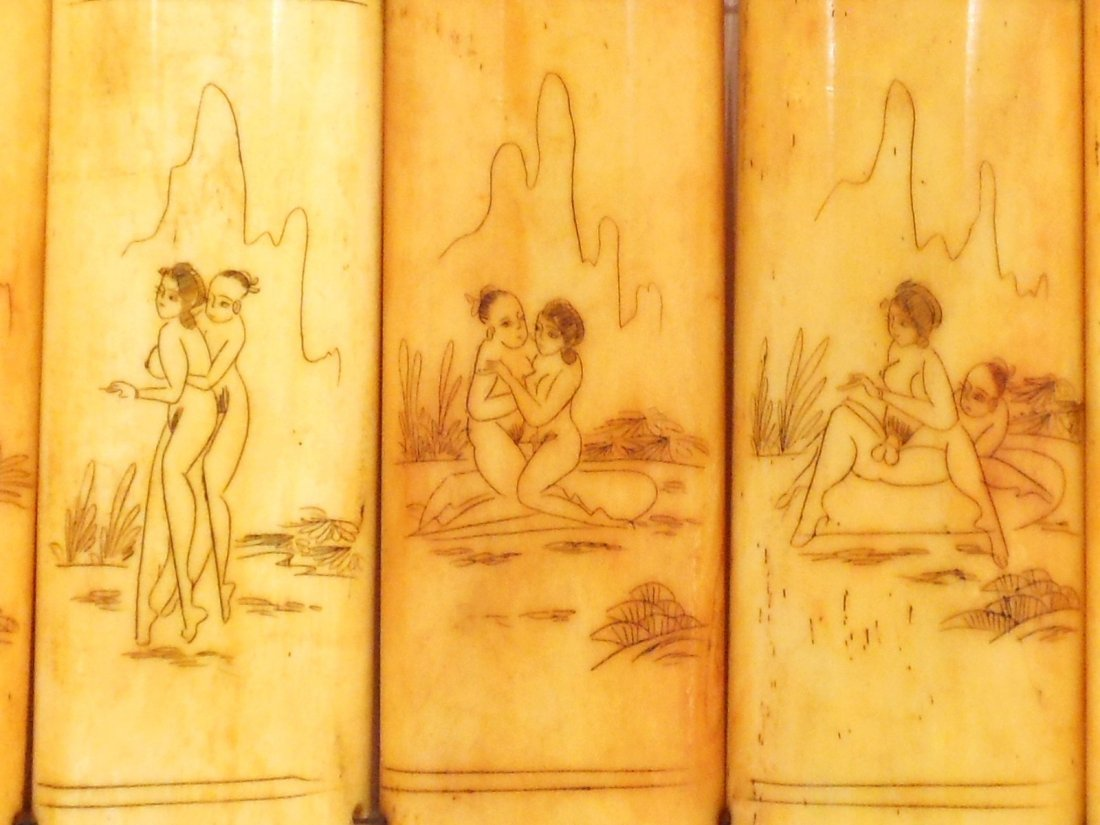 Erotic Scrimshaw Carvings on Bone Panels - 5