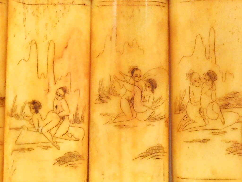 Erotic Scrimshaw Carvings on Bone Panels - 6
