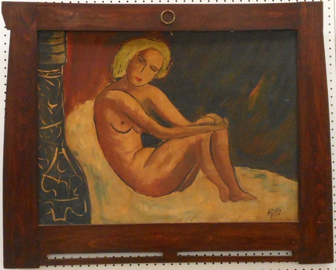 Bela Kadar Oil on Board 'Nude'