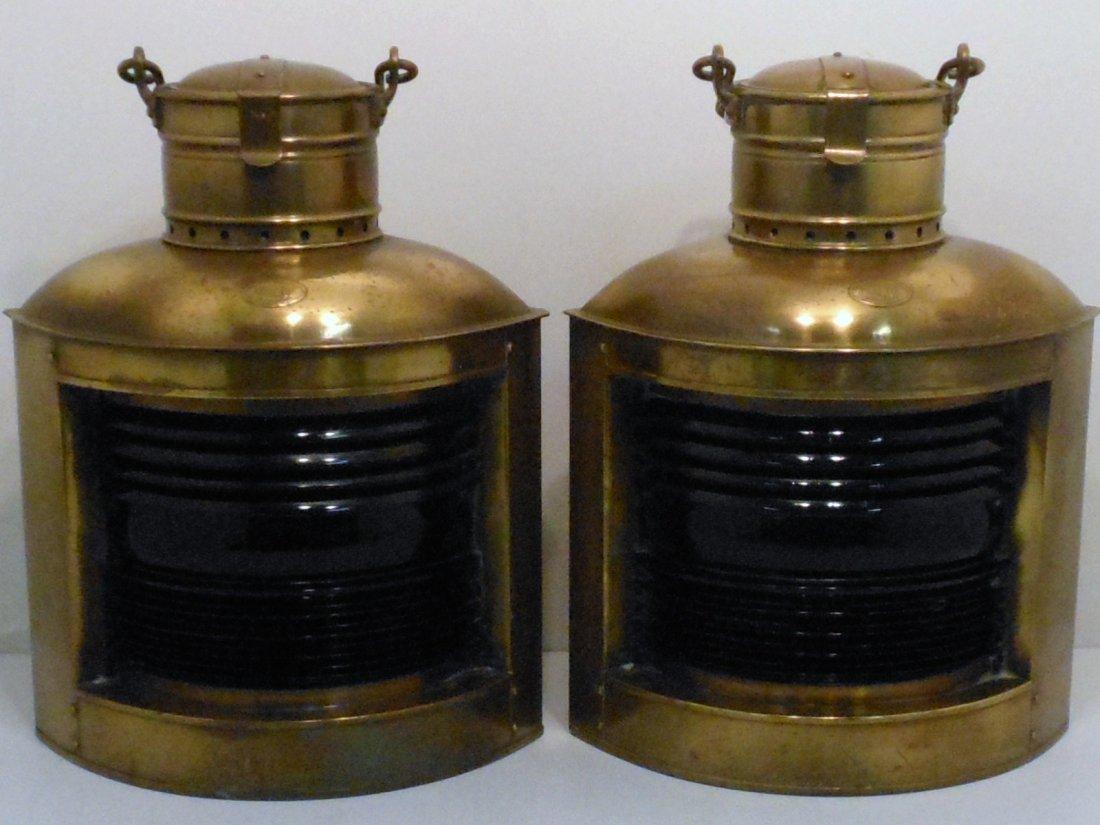 Vintage Pair of Perko Brass Ship Lights