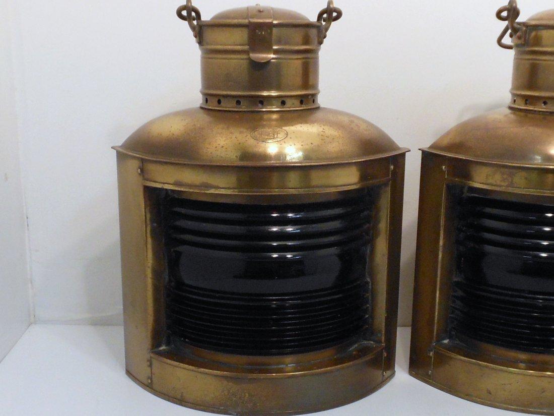 Vintage Pair of Perko Brass Ship Lights - 2