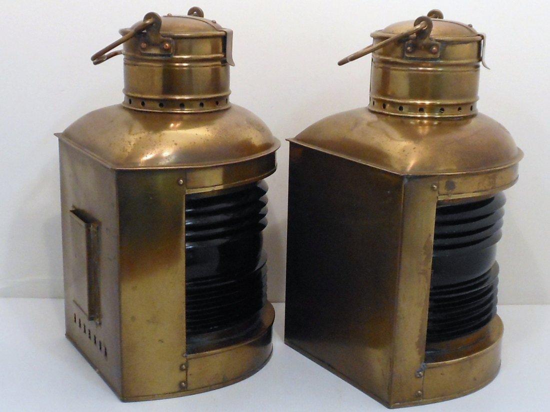 Vintage Pair of Perko Brass Ship Lights - 8