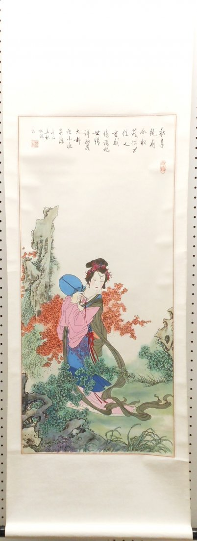 Hanging Watercolor Scroll of a 'Pert Girl'