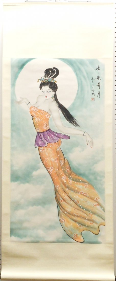 Hanging Watercolor Scroll of a 'Floating Woman'
