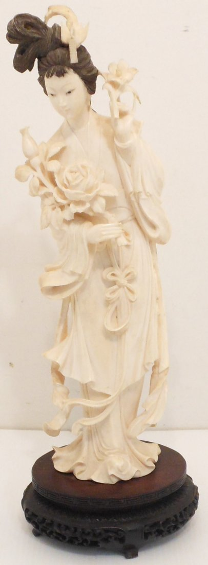 Carved Ivory Statue of Young Woman on Stand