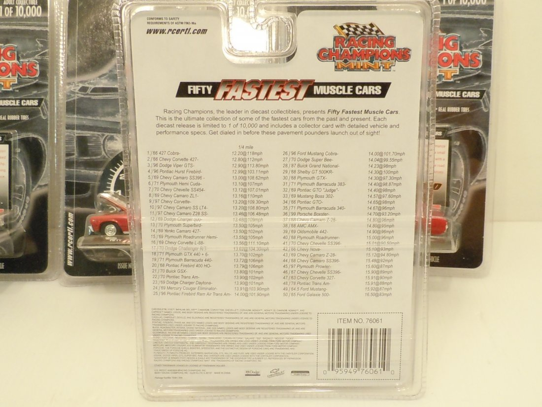 Lot Racing Champions Mint 50 Fastest Muscle Cars - 6