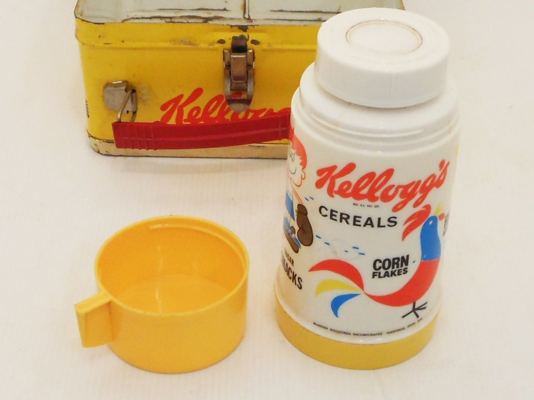 Vintage Kellogg's Cereals Lunch Box Thermos - 8