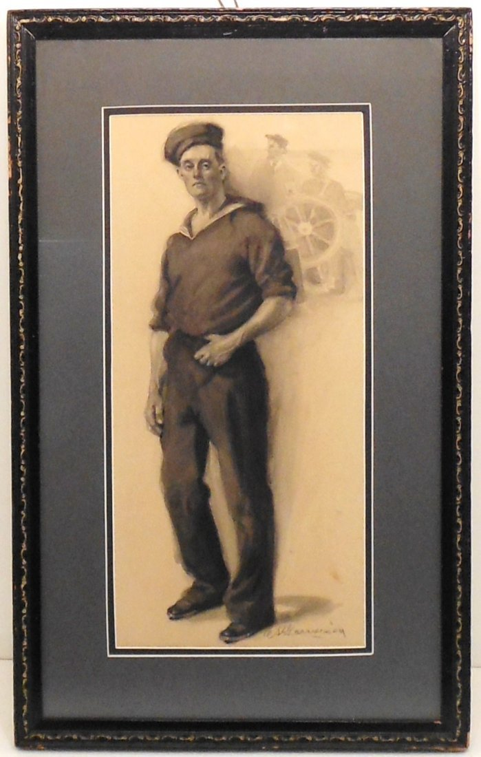 Colored Ink Drawing Garrison WWI Navy Sailor