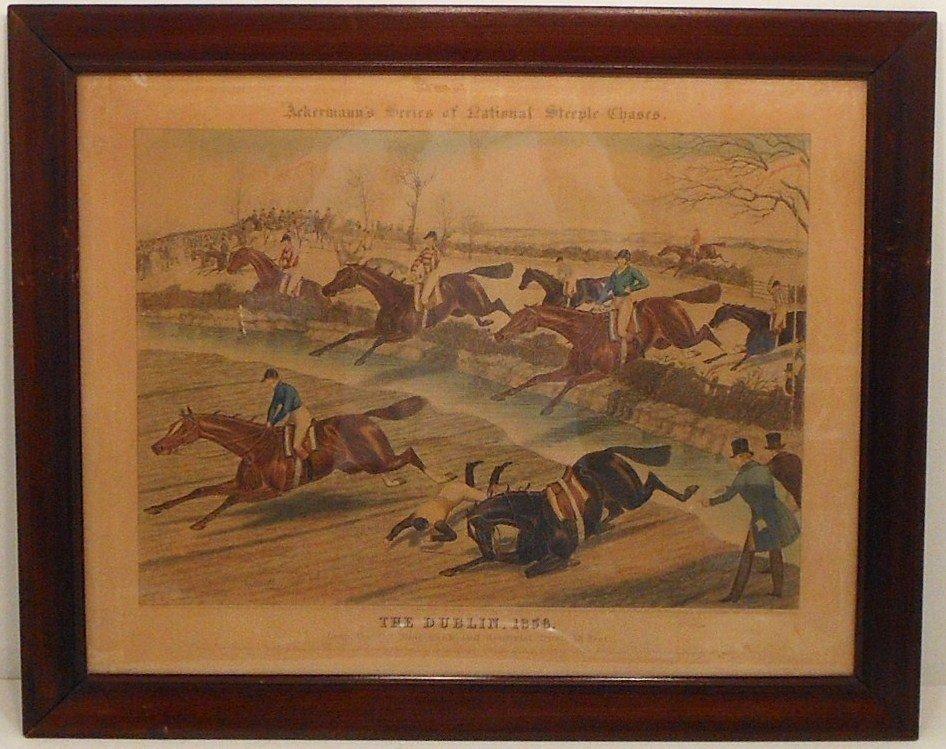 """Aquatint Akerman's """"The Dublin,1856. Leap the 9th Rail…"""