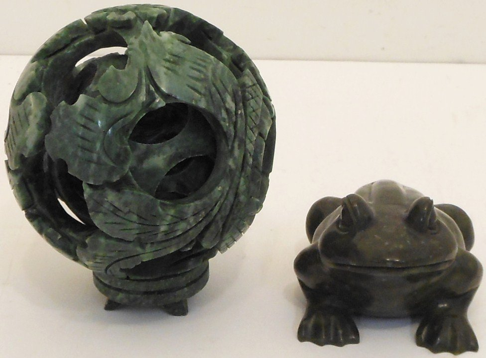 Carved Stone Puzzle Ball and Frog