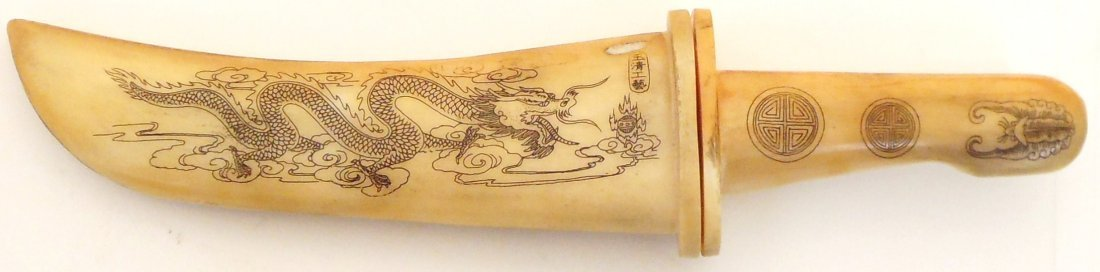 Carved Ox Bone Knife & Scabbard Dragon Design