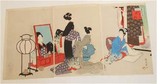 Japanese Woodblock Print Woman With Attendants