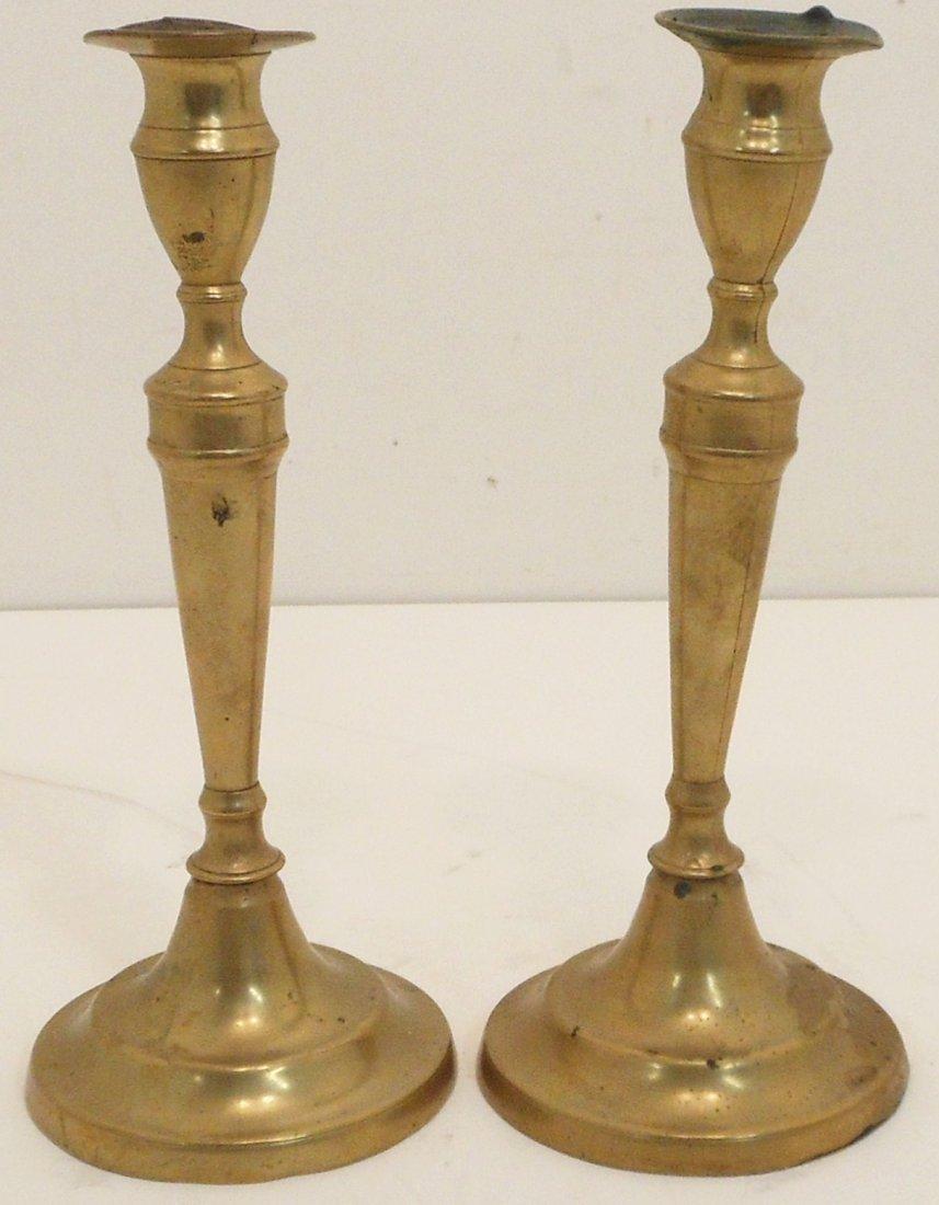Pair of Antique Brass Push Up Candlesticks