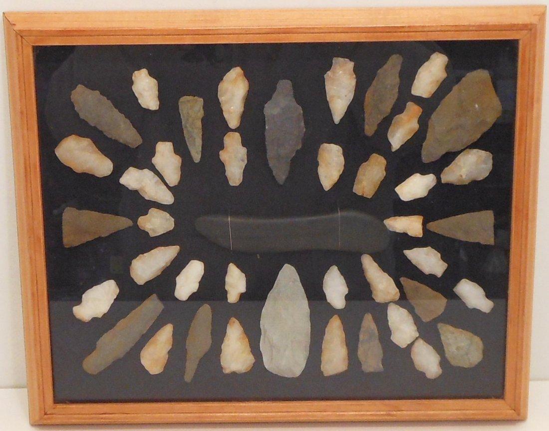 Framed Native American Arrowheads