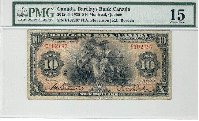1: Barclay's Bank of Canada, 1935 $10 #E102197, CH30-12