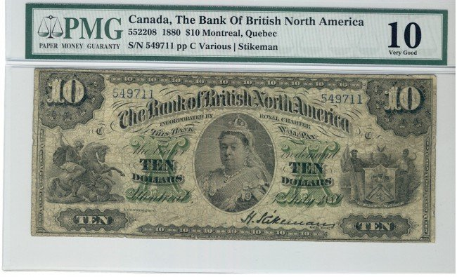 2: The British Bank of North America, 1889 $10 #549711,