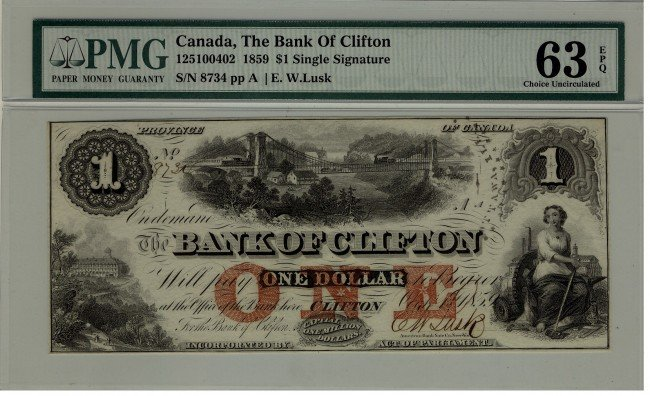 6: The Bank of Clifton 1859 $1 #8734 CH-125-10-04-02, P