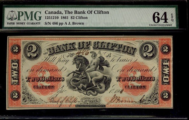 8: The Bank of Clifton 1861 $2 #486 CH-125-12-10 PMG CH