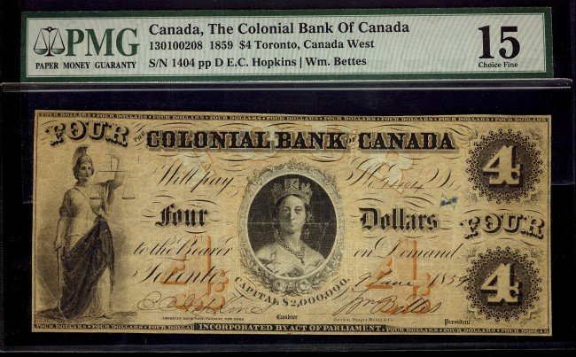 9: The Colonial Bank of Canada, 1859 $4 CH-130-10-02-08