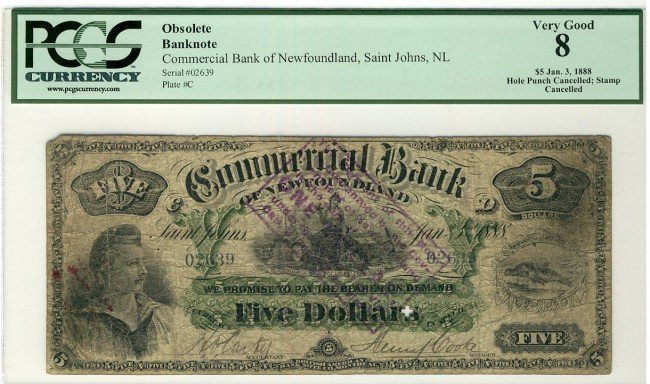 11: The Commercial Bank of Newfoundland 1888 $5 #02639,