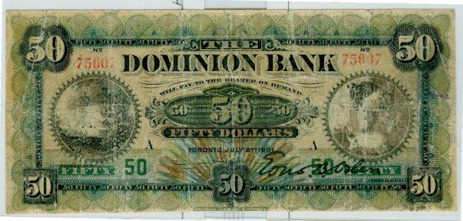 13: The Dominion Bank, 1901 $50 #75607 CH-220-22-02. Th