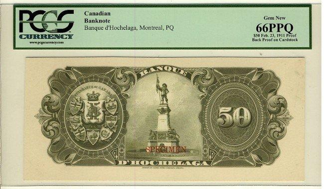14: Banque d'Hochelaga, 1911 $50 SP Back Proof,  CH-345