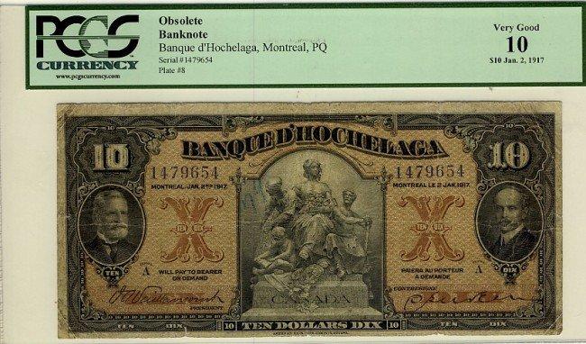 15: Banque d'Hochelaga,  1917 $10 #1479654, CH-360-24-0