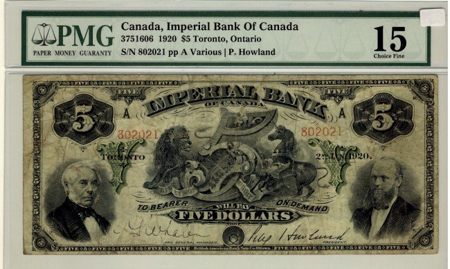 16: The Imperial Bank of Canada, 1920 $5 #802021, CH-37