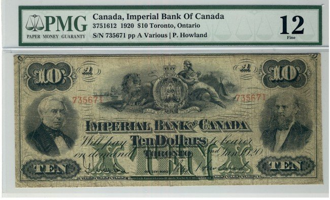 17: The Imperial Bank of Canada,  1920 $10 #735671, CH-