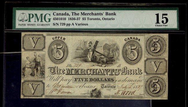 19: The Merchants Bank  1836-37 $5 #729 CH-450-10-10 PM