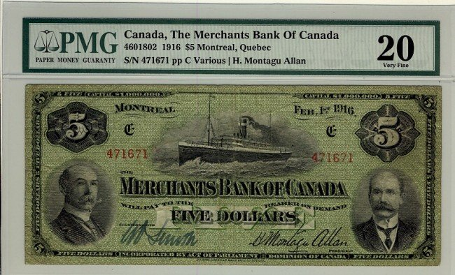 21: The Merchants Bank of Canada, 1916 $5 #471671, CH-4