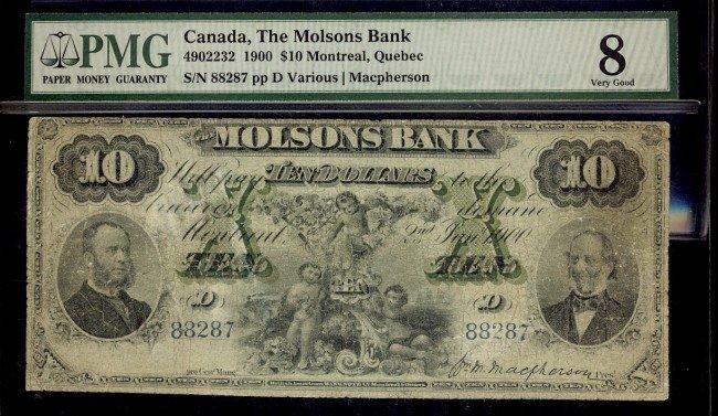 22: The Molsons Bank 1900 $10 #88287 CH-490-22-32 PMG V