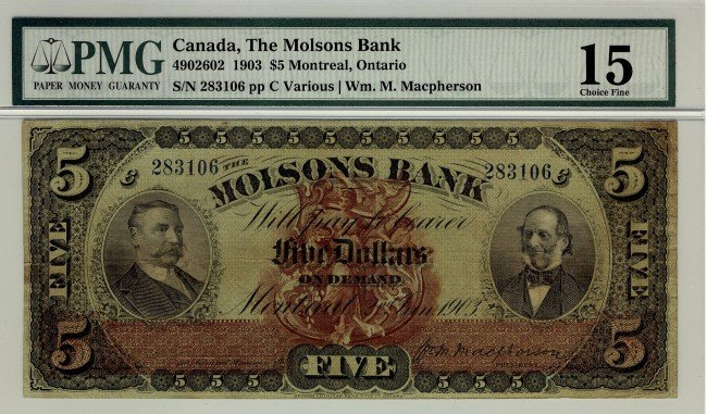 23: The Molsons Bank,1903 $5 #283106, CH-490-26-02, PMG