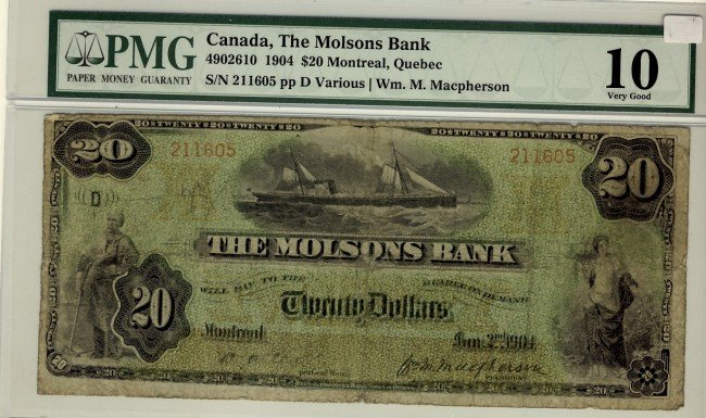 24: The Molsons Bank of Canada, 1904 $20 #211605, CH-49