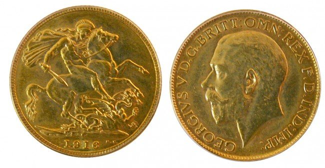 643: 1916c Gold Sovereign ICCS MS63PQ++.  Considered Th