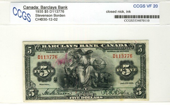 3: Barclays Bank 1935 $5 D113776 CH-30-12-02 CCGS VF20,