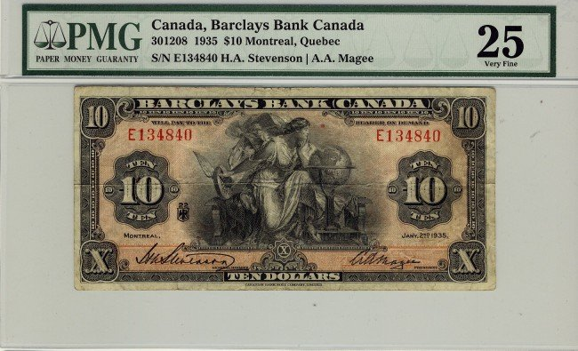 4: Barclay's Bank of Canada, 1935 $10 #E134840, CH30-12