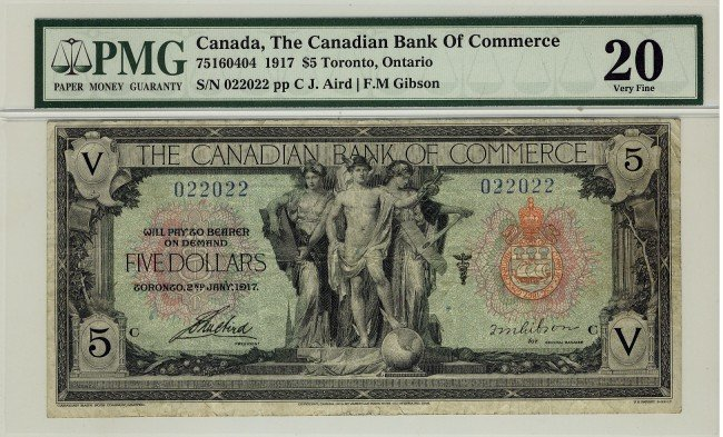 8: The Canadian Bank of Commerce, 1917 $5 #022022, CH-7