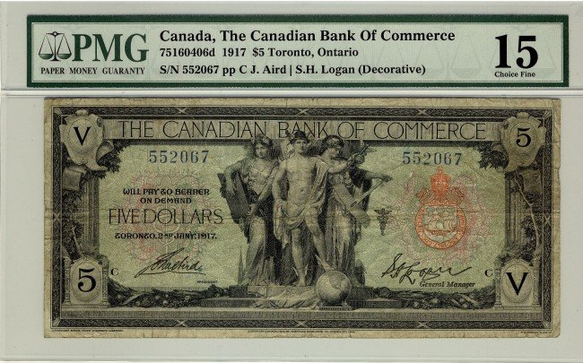 9: The Canadian Bank of Commerce, 1917 $5 #552067, CH-7