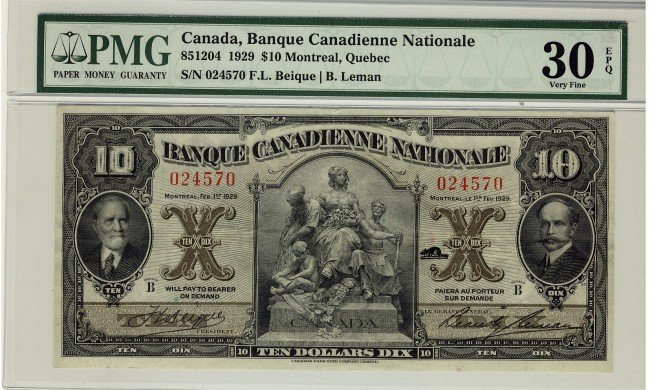 17: Banque Canadienne Nationale, 1929 $10 #024570, CH-8