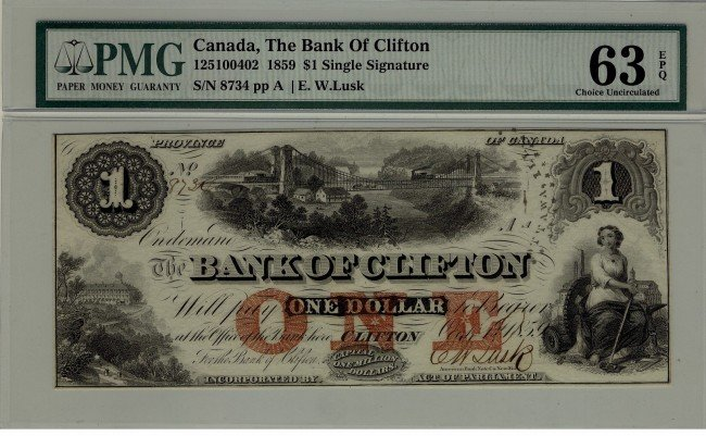 20: The Bank of Clifton 1859 $1 #8734 CH-125-10-04-02,
