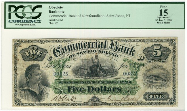 21: The Commercial Bank of Newfoundland 1888 $5 #00825,