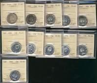 854: 1957 25�(3), 1960(2), 1966(3) & 1967 ICCS PL65 alo