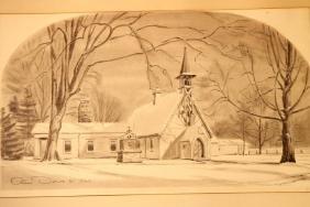 "Olin Dows Watercolor, ""St James Chapel"""