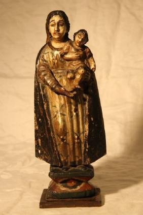 Carved Wooden Figure, Mother & Child