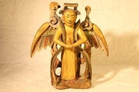 Asian Winged Figure, Gilt & Paint Carved Wood