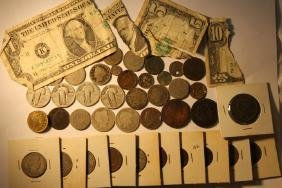 Misc Lot of US Coins, & Paper