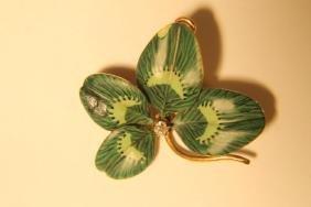 14kt Gold Test Enamel Leaf & Diamond Chip Pin