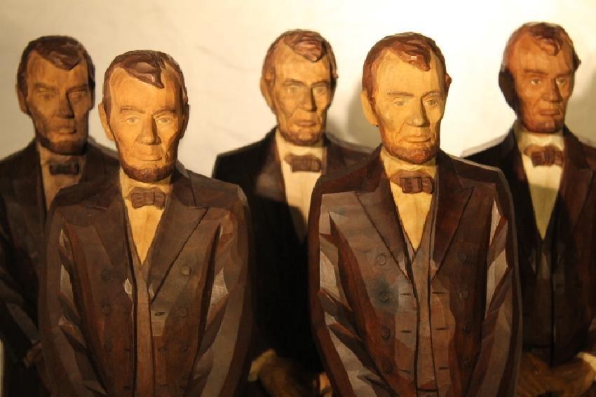 Lot of 5 Folk Art Carvings of Abe Lincoln