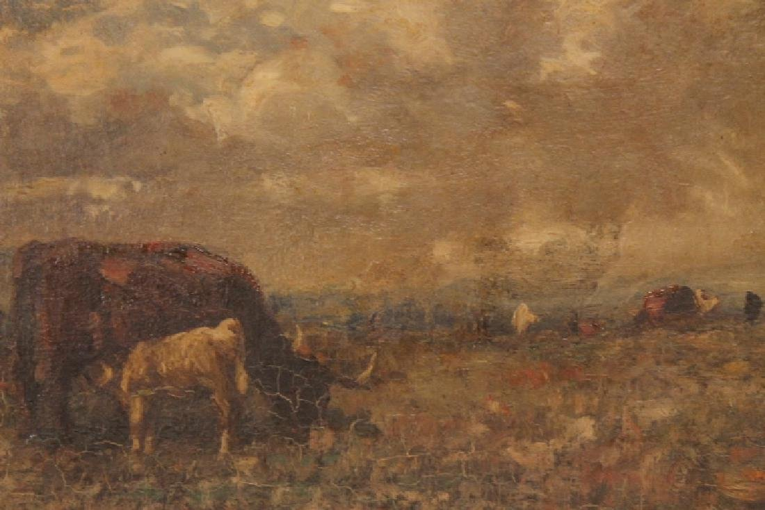 Oil Painting, Cows Grazing 19th Century